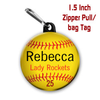 1.5 Inch Zipper Pull Bag Tag with Personalized Softball Graphics