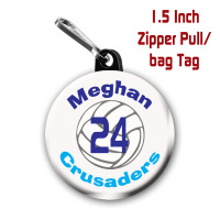 Personalized Volleyball Zipper Pull