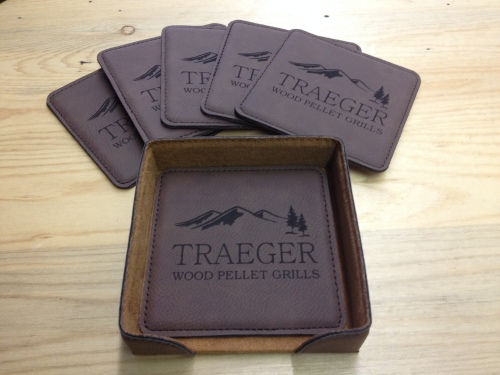 Traeger 7 Pc. Coaster Set Brown Square