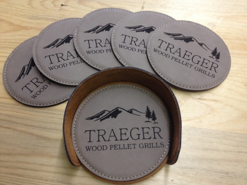 Traeger 7 Pc. Coaster Set Beige Round