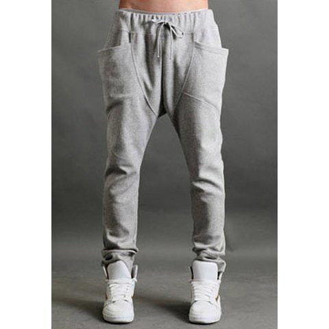 Fashionable Big Stereo Pocket Summer Harem Pants For Men-black