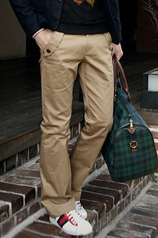 Casual Style Solid Color Zipper Fly Pocket Embellished Straight Leg Cotton Long Pants For Men-36