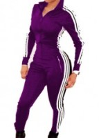 3 Stripe Trendy one piece warmup suit-black-med
