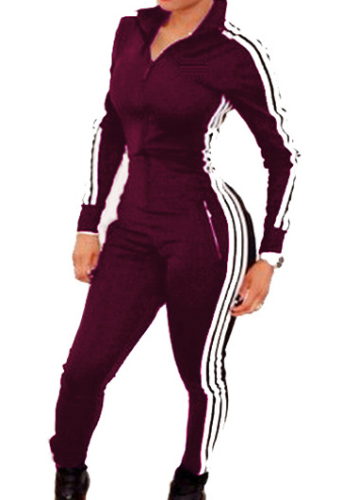 3 Stripe Trendy one piece warmup suit-burgundy-XLarge