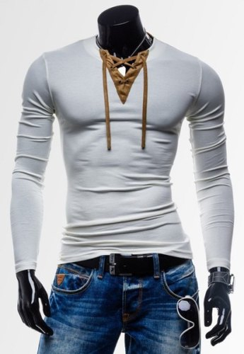 Laconic Personality Color Block V-Neck Slimming Long Sleeves Cotton Blend T-Shirt For Men