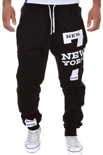 Letter Number Print Beam Feet Slimming Modish Lace-Up Polyester Sweatpants For Men-XL