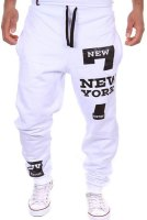 Letter Number Print Beam Feet Slimming Modish Lace-Up Polyester Sweatpants For Men