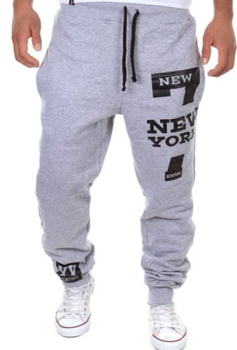 Letter Number Print Beam Feet Slimming Modish Lace-Up Polyester Sweatpants For Men-Lg