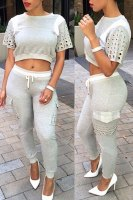 Casual Jewel Neck Short Sleeve Color Block Hollow Out Crop Top + Drawstring Pants Twinset For Women