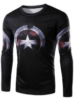 Round Neck 3D Captain America Shield Print Long Sleeve T-Shirt For Men-Sm