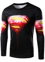 Round Neck 3D Logo Blood Superman Print Long Sleeve T-Shirt For Men