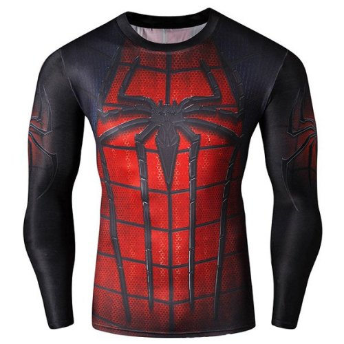 Cool 3D Spider-Man Print Hit Color Skinny Quick-Dry Round Neck Long Sleeves Superhero T-Shirt For Men