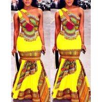 Ethnic Style One-Shoulder Sleeveless Hollow Out Printed Maxi Fishtail Dress For Women