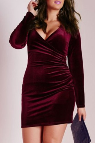 Attractive Solid Color V-Neck Long Sleeve Bodycon Mini Velvet Dress For Women-3XL