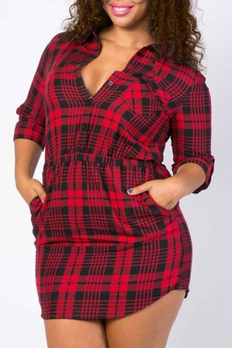 Casual Style Plunging Neck Long Sleeve Gingham Plus Size Dress For Women