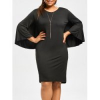 Sexy V-Neck 3/4 Sleeve Bodycon Solid Color Cape Dress For Women - Black-2xL