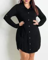 Fashionable Shirt Collar Long Sleeve Pleated Black Plus Size Dress For Women