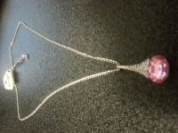 Designer type necklace  silver with pink stone