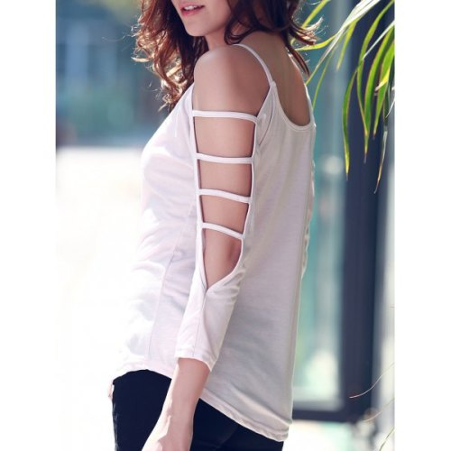 Women's Scoop Neck Cut Out 3/4 Sleeve Pure Color T-Shirt-2XL