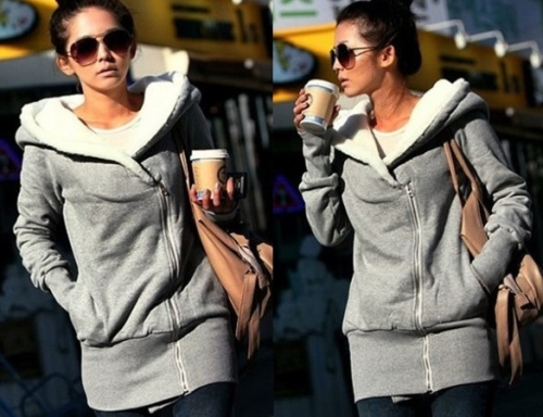 Korea Women Hoodie Jacket Coat Warm Outerwear hooded Zip-lg12-14