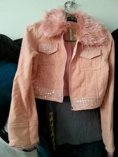 Pink Faux Suede Trendy Jacket