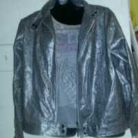 Gray leather like jacket