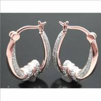 925 Solid Sterling Silver & 18k Rose Gold & Platinum Designer 2 Diamonds Hoope Earrings
