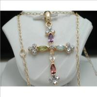 925 Solid Sterling Silver & 18k Yellow Gold Designer Genuine Amethyst, Peridot, Blue Topaz, Citrine, Garnet Cross Necklac