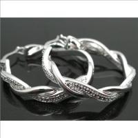 18k White GP Diamond Hoop Earrings