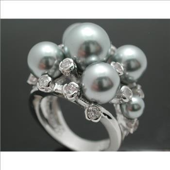 Designer Inspired Stunning Gray Pearl Lead Free Ring Size 7