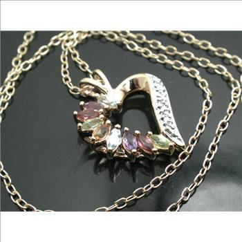 18k Yellow GP Multicolor Stone & Diamond Necklace