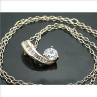 18k Yellow GP White Zircon Necklace
