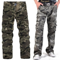 Men's Multi Pocket Mountaineers Hiking Camouflage Pants Casual Overalls Trousers