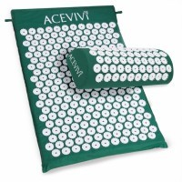 ACEVIVI Acupressure Mat Relieve Stress Pain Acupuncture Spike Yoga Mat with Pillow-blue