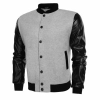Men Patchwork Varsity Letterman-Black Gray