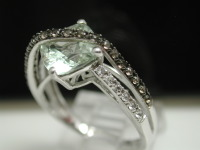Authentic ColoreSG by LORENZO 925 Sterling Silver & 18k White Gold, Green  Quartz & White Topaz ring