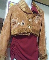 Women's Brown faux Suede cropstyle Jacket.