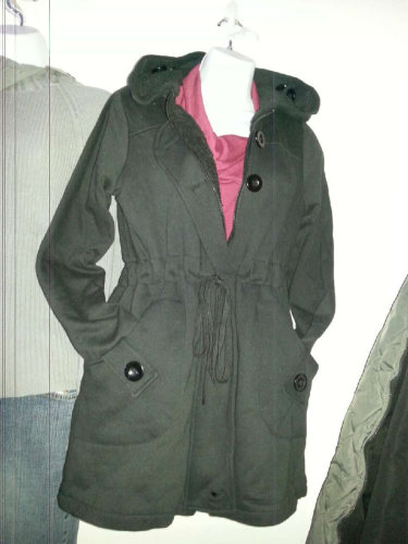 Trendy coat with hood...girls/Ladies-Dark Gray-Sm