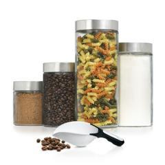 Resize image Download image  Notice a problem with this product or it's information? Tell us about it. Anchor Hocking 4 Pc Glass Cannister Set with Scoop