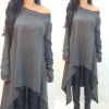 Fashion Womens Loose Long sleeve Dress , Plus Size-Large