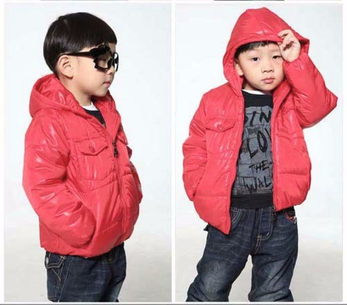 Little Boy Winter Jacket With Cotton-Padded Hooded Collar -6-Red