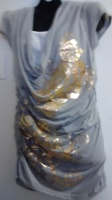 Grey short dress/Long top w Gold Design