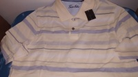 tion: Cream Striped Polo Top by TASSO ELBA