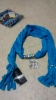 Blue Scarf with Jewelry