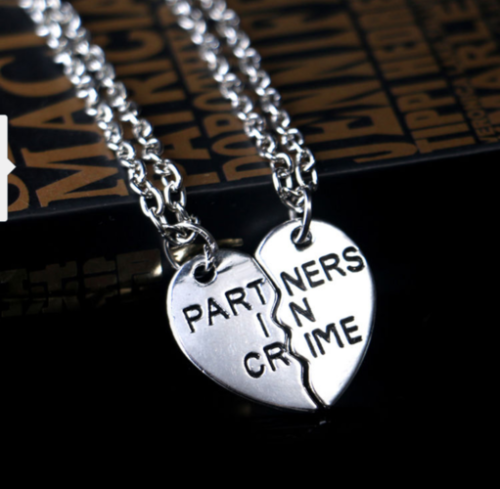Partners in crime friendship necklaces split heart