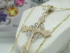 Genuine 10k Yellow & White GoldCross Necklace