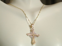 Genuine 10k Yellow & White Gold Cross Necklace