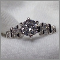 Stunning Round/Baguette AAA Quality CZ Ring