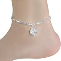 Crystal Rhinestone Chain & Heart Anklet