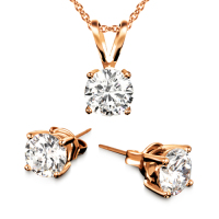 18K Rose Gold Plated Necklace and 3CTW Earring Set